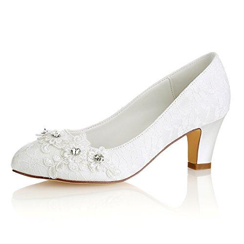 Emily Bridal Zapatos de novia para mujer, seda como satén, tacón con...