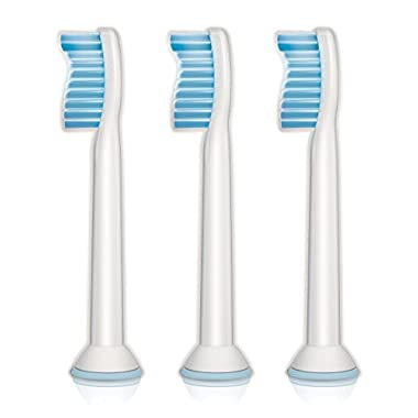 Philips Sonicare Sensitive replacement toothbrush heads for sensitive teeth, HX6053/64, 3-pk