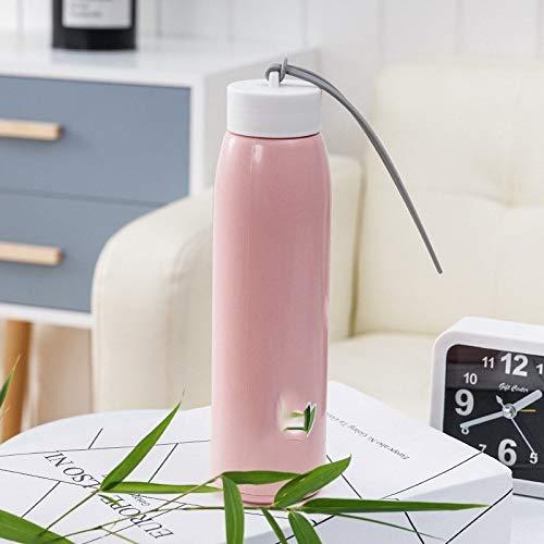 Heiße doppelte Farbe Art und Weise Geschenk Werbe-Cup Nachahmung Rattan Glasschale tragbare Wärmegefälle, Farbe: rosa, Kapazität: 501-600ml (Color : Pink)
