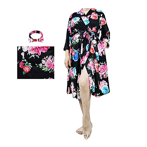 Maternity Robe and Matching Baby Swaddle Blanket, Cotton Nightgown for Hospital Labor and Delivery Nursing Pregnancy Robe (z-Blue-Flower-Sleeveless, XL)