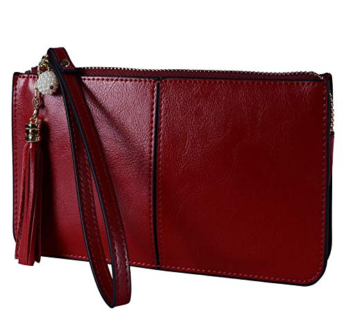 befen , Damen Handgelenkstasche Rot【Leder-Armband mit Quaste】 Größe S