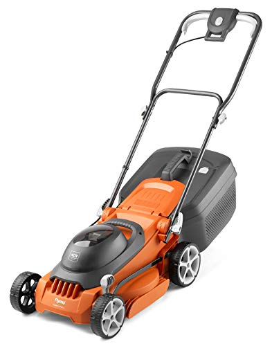 Flymo EasiStore 340R Li Cordless Rotary Lawn Mower - 40 V Battery (20 V x 2 Including Charger), 34 cm Cutting Width, 35 Litre Grass Box, Close Edge Cutting, Rear Roller, Space Saving Storage Features