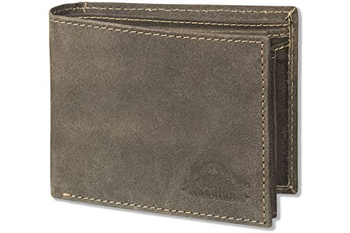 Woodland - bolt portafoglio in formato paesaggio da pelle di bufalo naturale in marrone scuro/Taupe