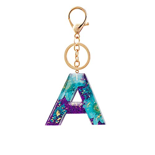 Personalized Initial Letter Keychain Real Flower Resin Key Ring Custom Alphabet A-Z Number Gold Flakes Glitter Pendant Bag Charm,1pcs