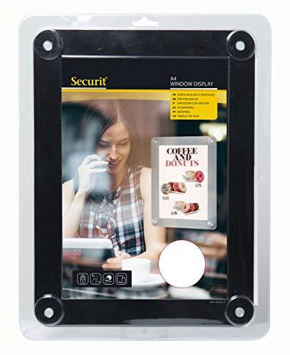 Securit Fenster Plakatrahmen, DIN A4, Befestigung mit 4 Saugnäpfen, UV- und witterungsbeständig, ideal für Werbung, Angebote und Preislisten