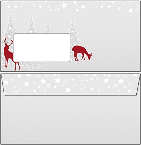 Briefumschläge Weihnachten weihnachtliches rotWild grau/rot 50 Stück Kuverts DIN lang mit Fenster 6887