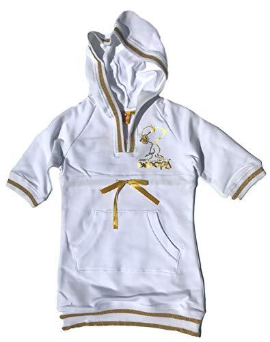 Snoopy jurk meisjes wit-goud en zwart-zilver maat XS S M 8 jaar 10 jaar 12 jaar