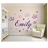 Wandschnörkel  Wandtattoo Kinderzimmer Wunsch-Namen personalisiert in Lila mit 19 Schmetterlingen und Sternen in Rosa,Flieder,Pink und Lila