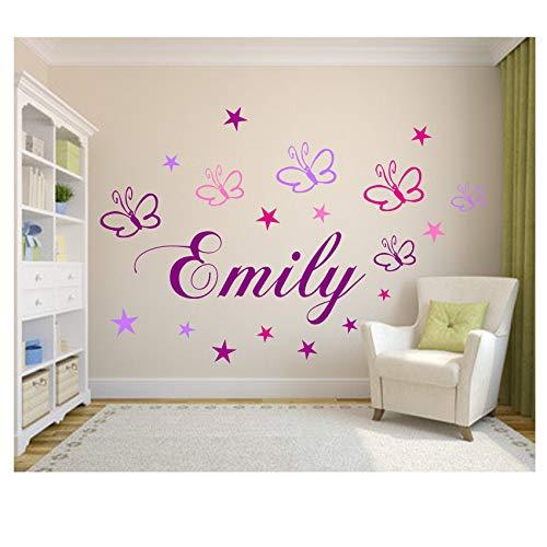Wandschnörkel ® Wandtattoo Kinderzimmer Wunsch-Namen personalisiert in Lila mit 19 Schmetterlingen und Sternen in Rosa,Flieder,Pink und Lila