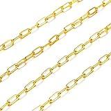 Cadena de cable dorado de Cheriswelry, 16.4 pies de latón plano ovalado, cadena de clip de papel, conector de enlace con carrete para hacer joyas de collar
