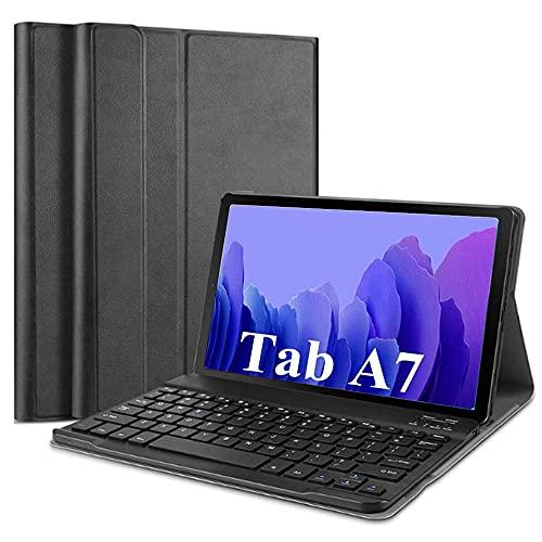 SsHhUu Funda con Teclado para Galaxy Tab A7 10.4' 2020 SM-T500/SM-T505, Keyboard Case Cubierta Delgada con Teclado Inalámbrico Desmontable para Galaxy Tab A7 10.4 Pulgadas 2020, Negro