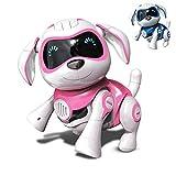 RCTecnic Chien Robot Rock Chien Jouet Interactif avec Emotions et Mouvement, Abois et Jeux avec Son Os, Batterie Rechargeable et Câble USB Très Résistant et Drôle (Rose)