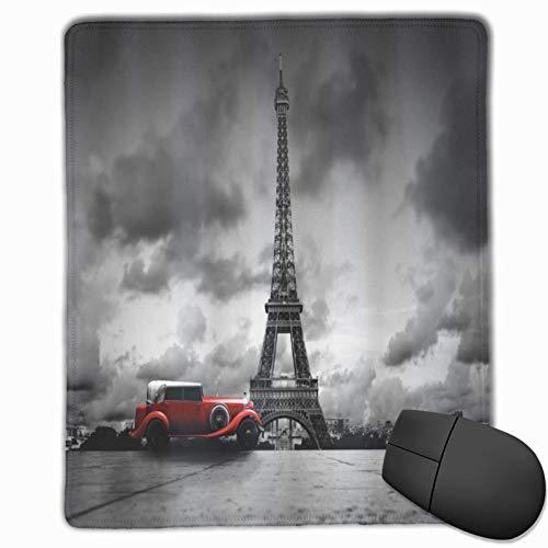 DAOPUDA Alfombrilla Raton Imagen de la Torre Eiffel París Francia Calle de Coches Antiguos Nubes oscuras Alfombrilla Gaming Alfombrilla para computadora con Base de Goma Antideslizante,250×300×3mm