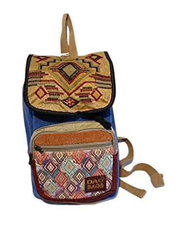 Dao desing Unisex blue ecru textile authentic embroidered flap backpack