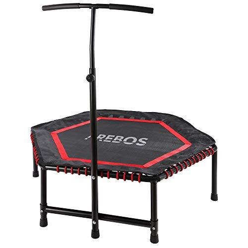 Arebos Trampolín de fitness con asidero | máx. hasta 120 kg | rebote de fitness para entrenamiento corporal y entrenamiento | hexagonal | rojo