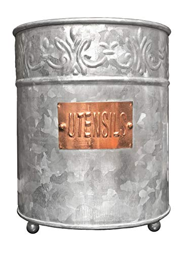 Metal Embossed Farmhouse Utensil Holder
