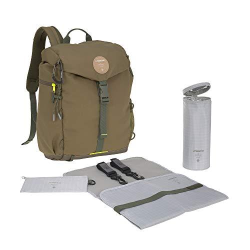 LÄSSIG Baby Wickelrucksack mit Wickelunterlage, Kinderwagenbefestigung, Flaschenwärmer wasserabweisend nachhaltig produziert/Outdoor Backpack, olive