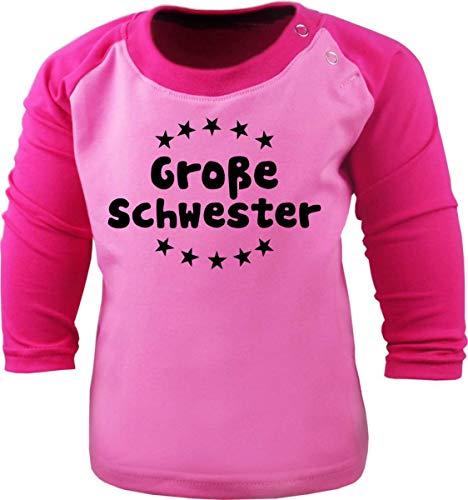 Baby/Kinder Baseball Langarm T-Shirt (Farbe: rosa-pink) (Gr. 110/116) Große Schwester