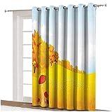 Cortina de puerta corredera de decoración de setas, paisaje rural en amplia pradera en soleado día granja, paneles con ojales impresos, panel individual de 254 x 274 cm, para puerta de cristal naranja