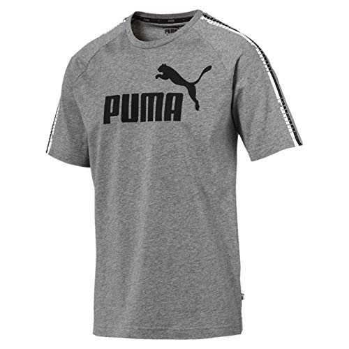 PUMA Herren T-Shirt Tape Logo Tee, M Gray Heather, XL, 852589