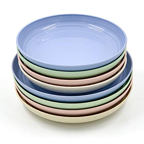 8 Pack New Wheat Straw Plates Set, Unbreakable Lightweight Dinner Dishes, Microwave Safe Dinner Plate, Perfect for Salad, Pasta, Steak,Fruit(7.8'' , 8.8'')