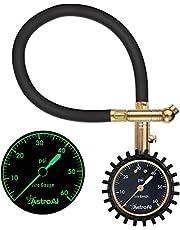 AstroAI エアゲージ タイヤゲージ 700KPA 空気圧ゲージ 空気圧計 自発光機能 トラック 自動車 バイク 自転車に対応(ホース付き型)