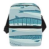 Bolsa de almuerzo aislada de sardina con diseño de atún verde para mujeres y hombres, adultos, con correa para el hombro, ideal para la preparación de comidas, para la escuela o la oficina