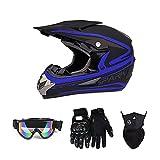Motocross Helmet Set, Unisex Youth Adult Full Face Motorcycle Protective Helmet for ATV Utv Off-Road Street Ride, Dot Certified (Goggles, Gloves, Face Shield),Blue,XL
