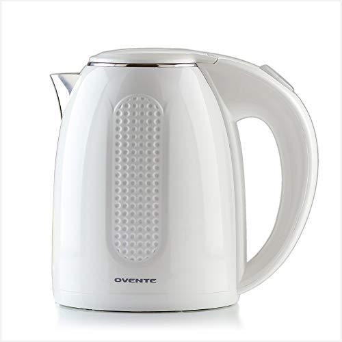 Ovente Hervidor eléctrico de agua caliente 1,7 litros de acero inoxidable con aislamiento de pared doble con apagado automático y protección en seco, 1100 W portátil sin BPA, jarra de calentamiento rápido café y té, color blanco KD64W