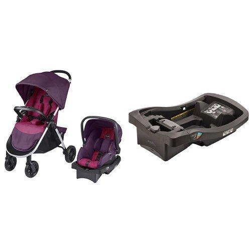 Evenflo Folio Travel System, Blackberry with LiteMax Infant Car Seat Base, Black