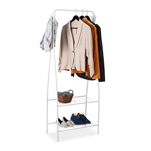Relaxdays Kleiderständer Metall, 2 Ablagen & 4 Haken, Kleiderstange, Flur & Ankleidezimmer, HBT 158 x 60 x 33 cm, weiß