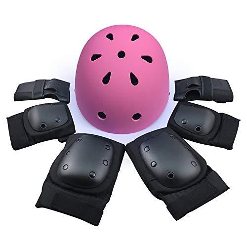 JFCUICAN Schutzausrüstung, Outdoor-Sport-Schutzausrüstung, für Jungen und Mädchen, verstellbare Helm-Sicherheitspolster, rose, Large