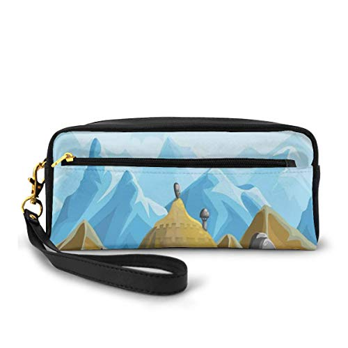 Pencil Case Pen Bag Pouch Stationary,South African Style Tribal Hut Houses In The Edge Of High Mountains And Big Rocks,Small Makeup Bag Coin Purse