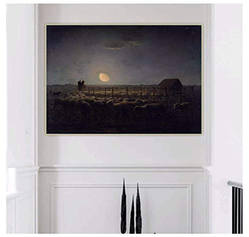 Jean Francois Millet ?Fårviken, månsken? Målning Wall Art Canvas målning Affischer vardagsrum Heminredning Väggdekoration-60x80cm Ingen ram