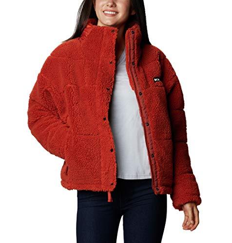 Columbia Lodge Chaqueta con Polar de Sherpa Guateada para Mujer, Rojo (Dark Sienna), S
