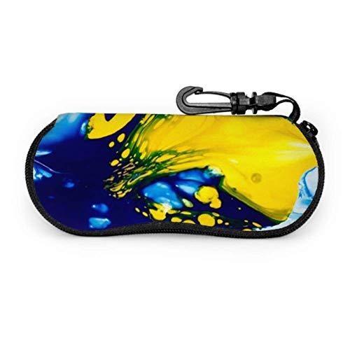 lymknumb Brillenetui, abstrakter Hintergrund Mischen Blau Gelb Farbe Sonnenbrillen Weichetui Ultraleichtes Neopren-Reißverschluss-Brillenetui mit Karabiner, Lesebrillenetui