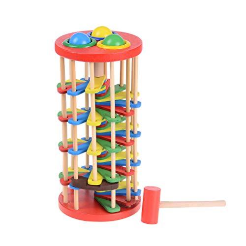 NIHAOYA 1 pieza de libra y rollo de juguete de madera de martillo de golpear bola de juguete de bola de madera para bebés de 3 a 4 a 5 años de edad y niños pequeños