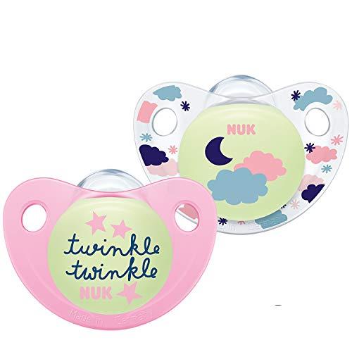 Nuk Trendline Night & Day - Ciuccio con effetto luminoso, 18 - 36 mesi, in silicone, senza BPA, colore: Rosa