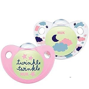 NUK 10176246 Trendline Night & Day - Chupete de silicona con efecto luminoso (6-18 meses), color rosa