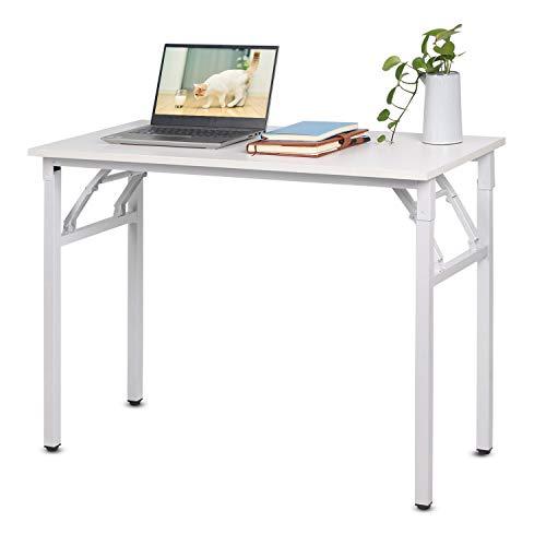 Escritorio plegable para ordenador, sin montaje, mesa de estudio de escritura, ordenador portátil, oficina, escritorio, estación de trabajo para adultos y niños, 100 x 50 x 75 cm, color blanco
