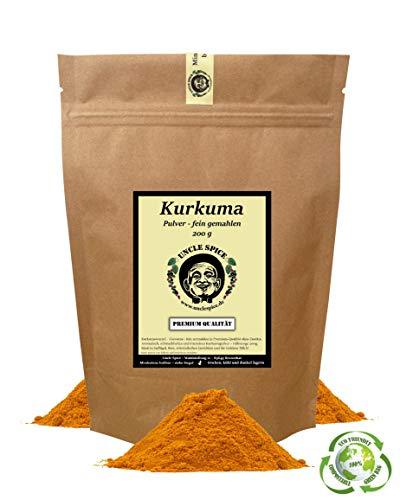Uncle Spice Kurkuma - 200g feinster Kurkuma-Pulver gemahlen, gelber Turmeric SUPERFOOD, Kurkumapulver in Premium-Rohkostqualität - natürliches Curcuma-Pulver, 1a Qualität