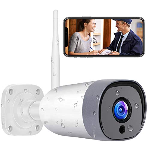 Outdoor Security Camera, Mibao 1080P WiFi Camera, IP66 Waterproof, IP Camera with Two-Way Audio, Night Vision, Motion Detection, Compatible with iOS/Android/Windows, Work with Alexa