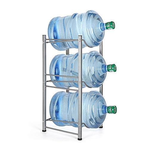 Water Cooler Jug Rack, 3-Tier Water Bottle Storage Rack 5 Gallon Detachable Heavy Duty Water Bottle Shelf for Home Office Kitchen Organization Silver