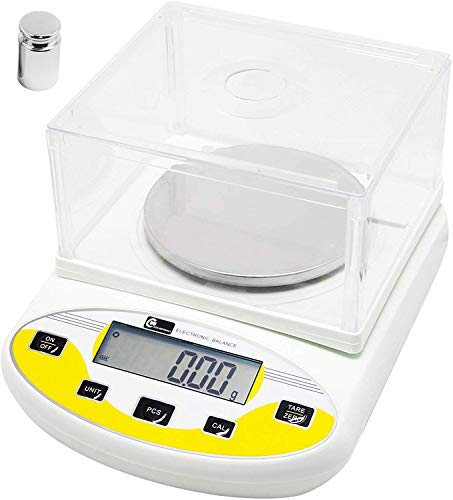 CGOLDENWALL Balanza de Precisión Eléctrica 1000g, 0.01g Báscula Digital con Funciones de Autocorrección Memoria Y Más Ideal para Lab Cocina Joyería丨Ya Calibrada y Lista para Usar丨 (1000g, 0.01g)