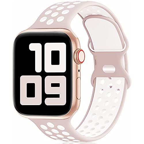 Fengyiyuda Reemplazo Deportivo de Silicona Compatible con Correa Apple Watch Pulsera 38 mm 40 mm 42 mm 44 mm, Pulsera Suave y Transpirable para iWatch Series 6/5/4/3/2/1 / SE Light Pink&White-42/44-S