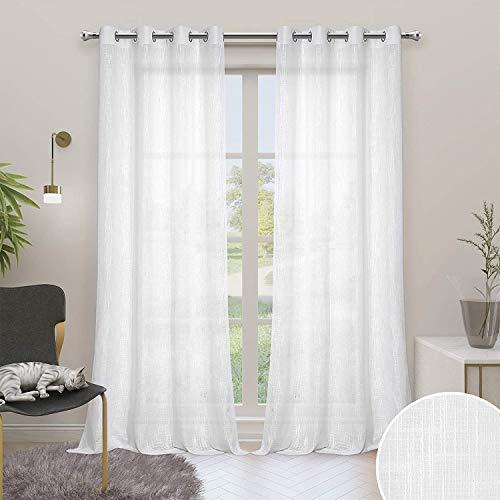Carvapet Weiß Gardinen Transparent Vorhänge Leinen Optik Voile Ösenvorhang für Wohnzimmer Schlafzimmer, 2er Set 225x140cm