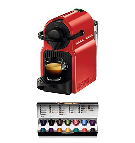 Krups Nespresso Inissia XN1005 - Cafetera monodosis de cápsulas Nespresso, 19 bares, apagado automático, color rojo