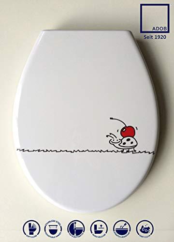 ADOB Design WC Sitz Käfer Klobrille Klodeckel Toilettendeckel aus Duroplast, Absenkautomatik, Softclose, zur Reinigung abnehmbar, 59874