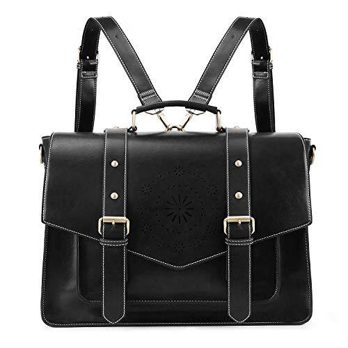 ECOSUSI Backpack for Women Briefcase Messenger Laptop Bag Vegan Leather Satchel Work Bags Fits 15.6 inch Laptops, Black