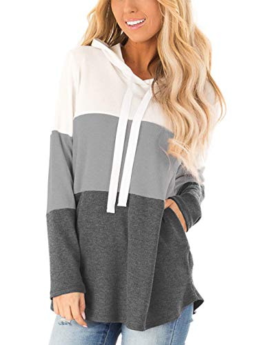 Lantch Damen Hoodies Farbblock Sweatshirt Gestreifte Pullover Casual Kapuzenpullover Langarm Shirts Kordelzug Oberteil mit Taschen(GY-M)